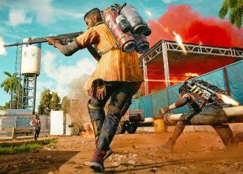 Far Cry 6 бежит по пыльной солнечной улице